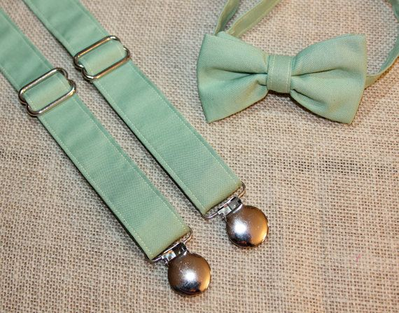 Light Sage Green Bow Tie and Suspenders set  by CottonKandyShop, $35.00