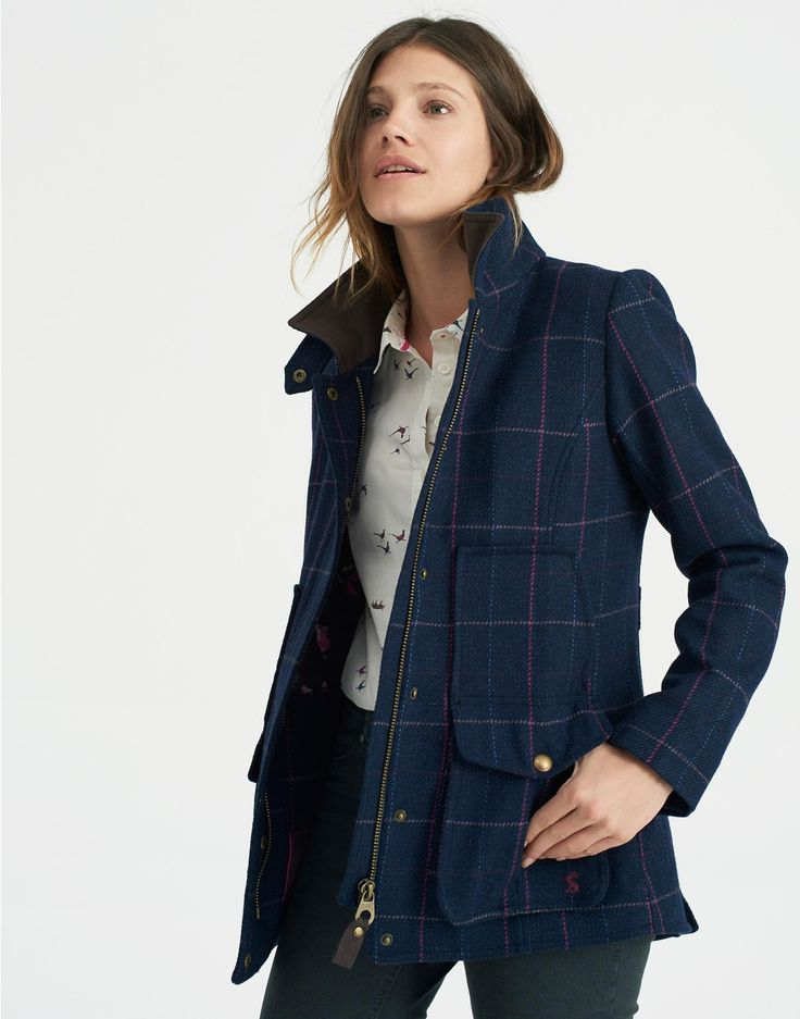 Tweed Navy Check Fieldcoat | Joules UK