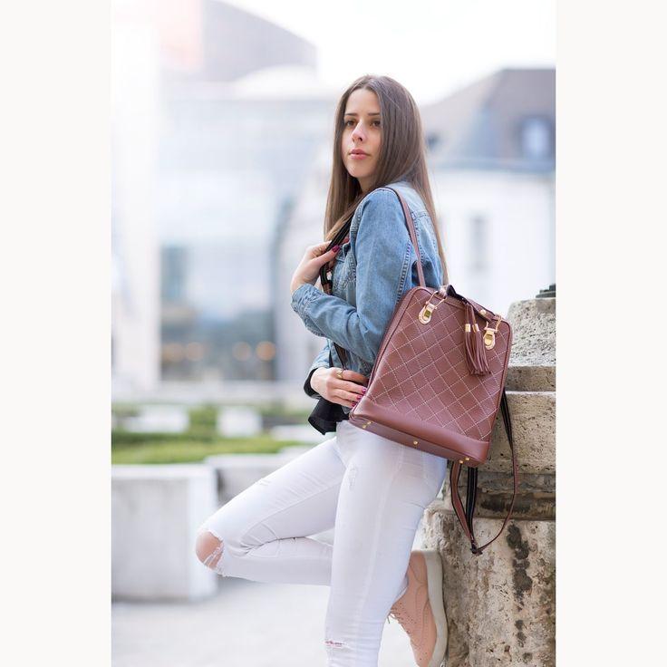 Luxusný kožený ruksak z pravej hovädzej kože so strapcami č.8661 v hnedej farbe | Luxusné a módne šperky, doplnky, ozdoby, darčeky