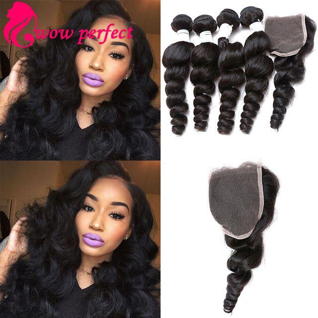 Hot Sale 4 bundles with closure Brazilian Loose Wave 7a brazilian virgin hair with closure loose curly virgin hair with closure