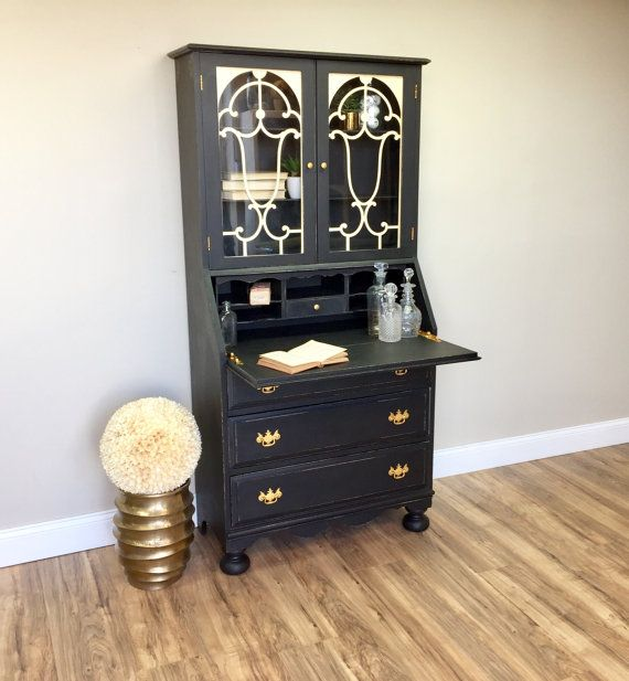 Antique Secretary Desk with Hutch  Black by VintageHipDecor
