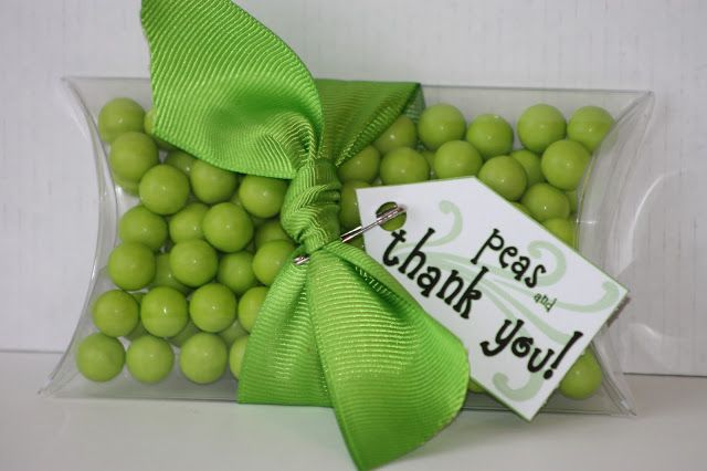 green six lets favor for twins baby shower favors (peas in a pod)