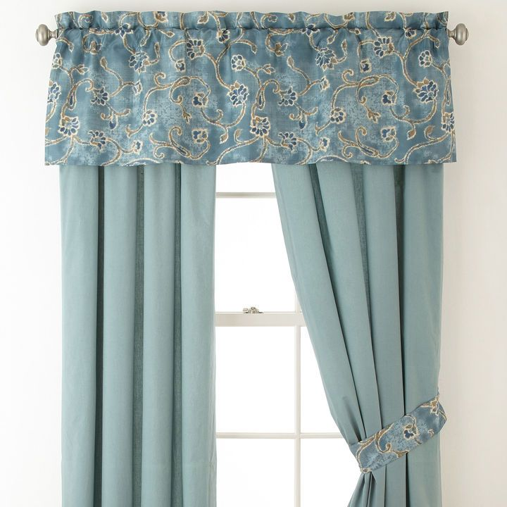 These grayed blue curtains with the S curve vines would be so perfect in a Type 2 home!