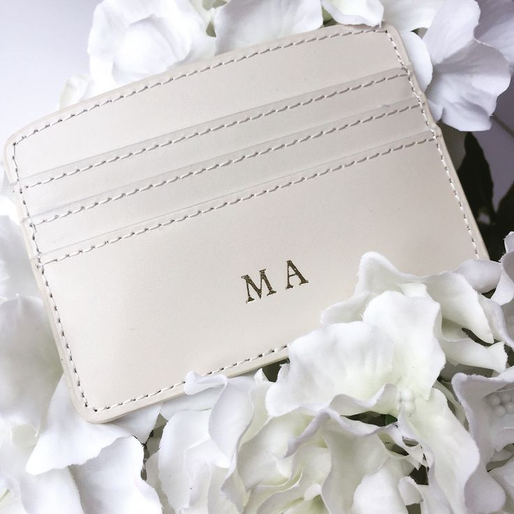 Gold foil embossed leather personalised card holder ⒽⒶ Ⓓⓔⓢⓘⓖⓝⓢ