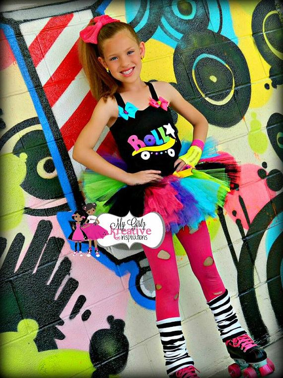 Rock and Roller Skate  Retro 80's Baby Neon by MyGirlzInspirations, $66.00