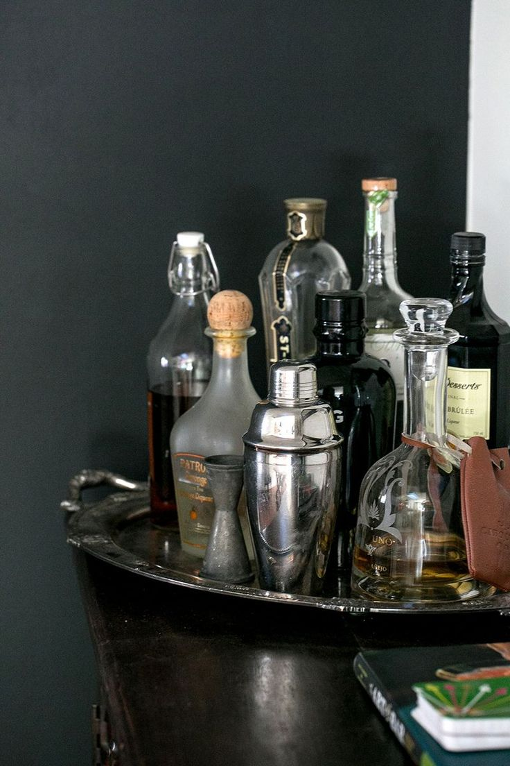 We think one of our silver trays from Marrakech would work so well for a bar set up like this!