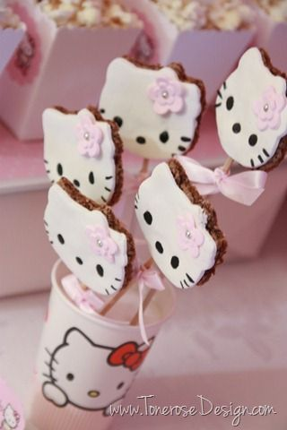Hello Kitty cookies - chocolate chip cookies decorated with marzipan