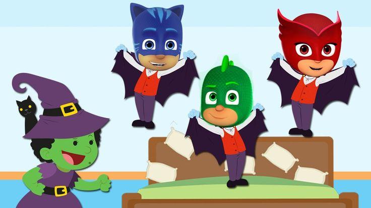 Five Little PJ Masks Transforms Into Dracula | Five Little Monkeys Jumpi...