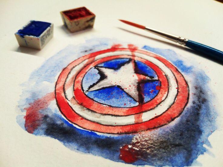Captain America Watercolor on paper.