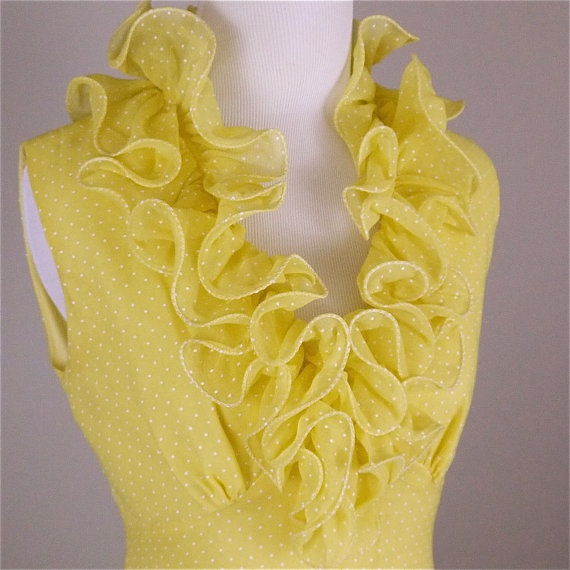 Vintage 1960s Yellow DottedSwiss Ruffle Neck Gown by lookimpretty, $105.00