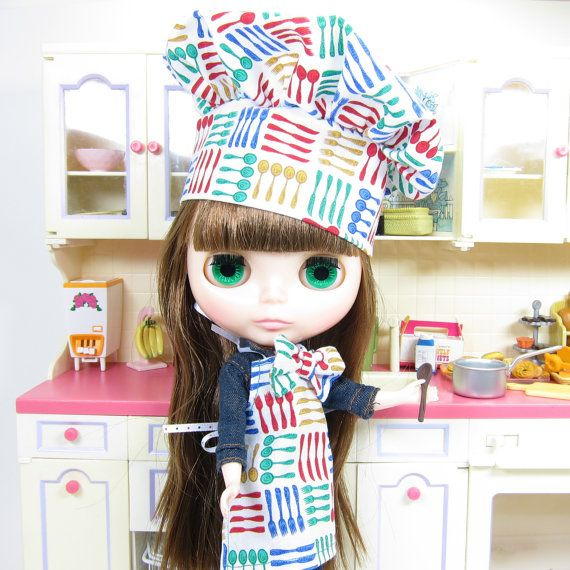 Blythe Cooking Apron with Colorful Forks Knives & by BrownEyedRose, $12.00