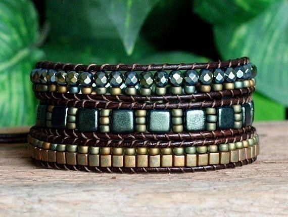 Beaded Leather Wrap Bracelet Metallic Green Patina Beaded