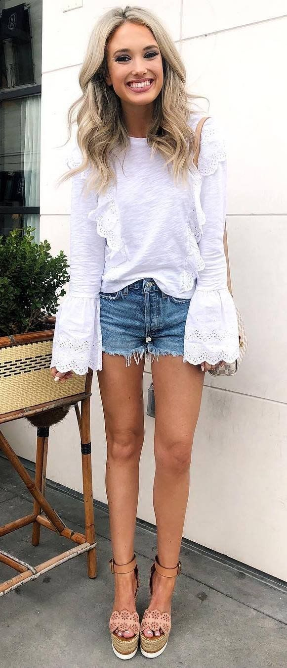 how to style a denim shorts : white top + nude sandals