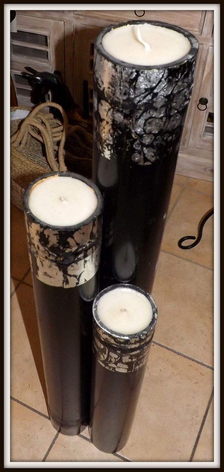 Tris di candele in bamboo nere e argento realizzato a mano. misure: alta cm 100/80x60 circa