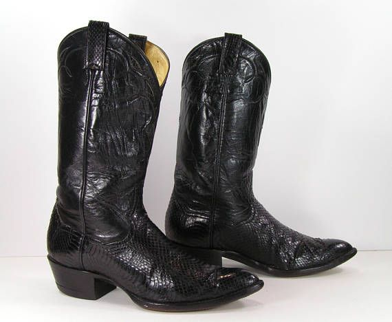 ffbf5552b vintage cowboy boots womens 9.5 M B black snake skin panhandle slim ...