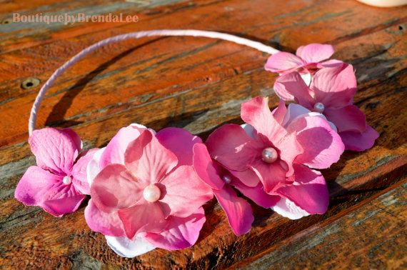 Pink flower hair floral crown head wreath headband weddings bridal bride country weddings by BoutiquebyBrendaLee on Etsy,