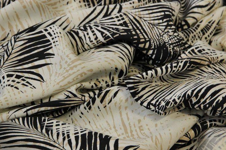 viskózový batist se vzory palmových listů | Šatovky- Kleiderstoffe | e-zet.cz - obchod s metráží