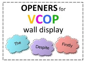 VCOP Openers Word Wall Display Clouds