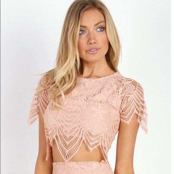 FL&L Luna Crop Top Pale Blush NWT For Love & Lemons Luna Crop Top in pale blush, size large. Matching skirt in separate listing, bundle discount available!     ✨No Trades/PP✨ For Love and Lemons Tops Crop Tops