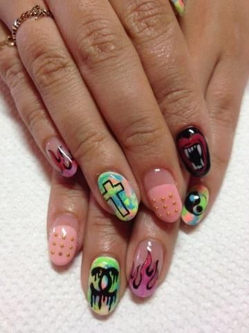 pastel grunge nails - Google Search