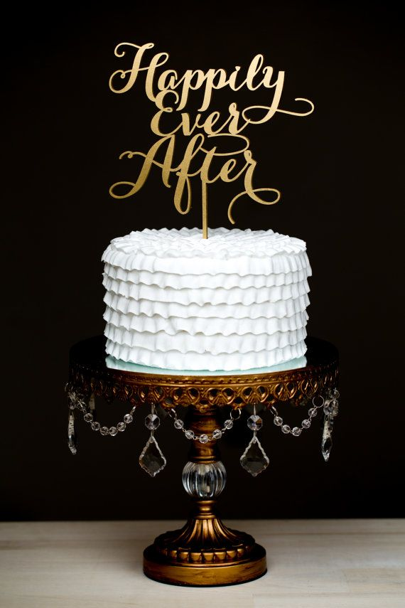 Wedding Cake Topper - Happily Ever After - Gold on Etsy, $35.00