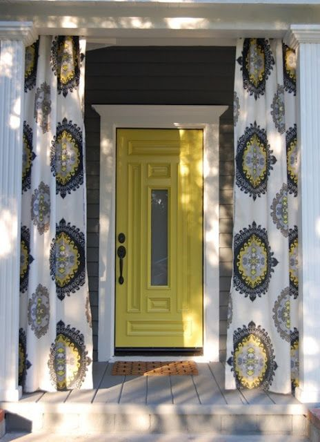 But he would never go for yellow...Trina Turk, The Doors, Front Doors Colors, Outdoor Fabrics, Porches Curtains, Back Porches, Outdoor Curtains, Yellow Doors, Front Porches