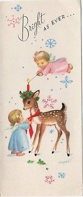 Marjorie Cooper Pink Blue Angel Girl Fawn Deer AS IS VTG Christmas Greeting Card