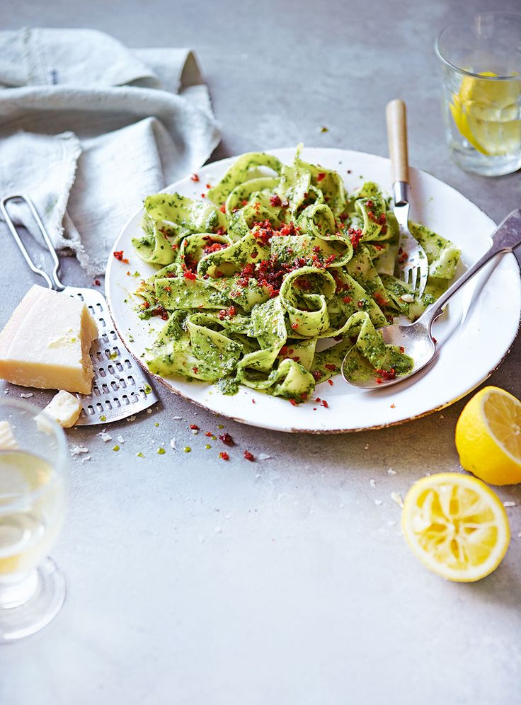 This quick garlic pesto pasta recipe livens up your midweek repertoire with a spicy kick.