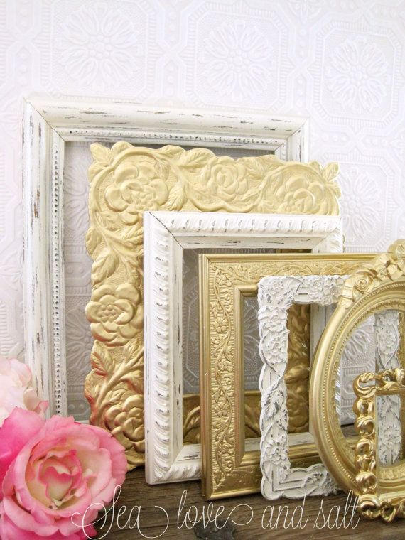 Vintage Gold Picture Frames For Baby Girl Nursery Bedroom #walls #shabbychic