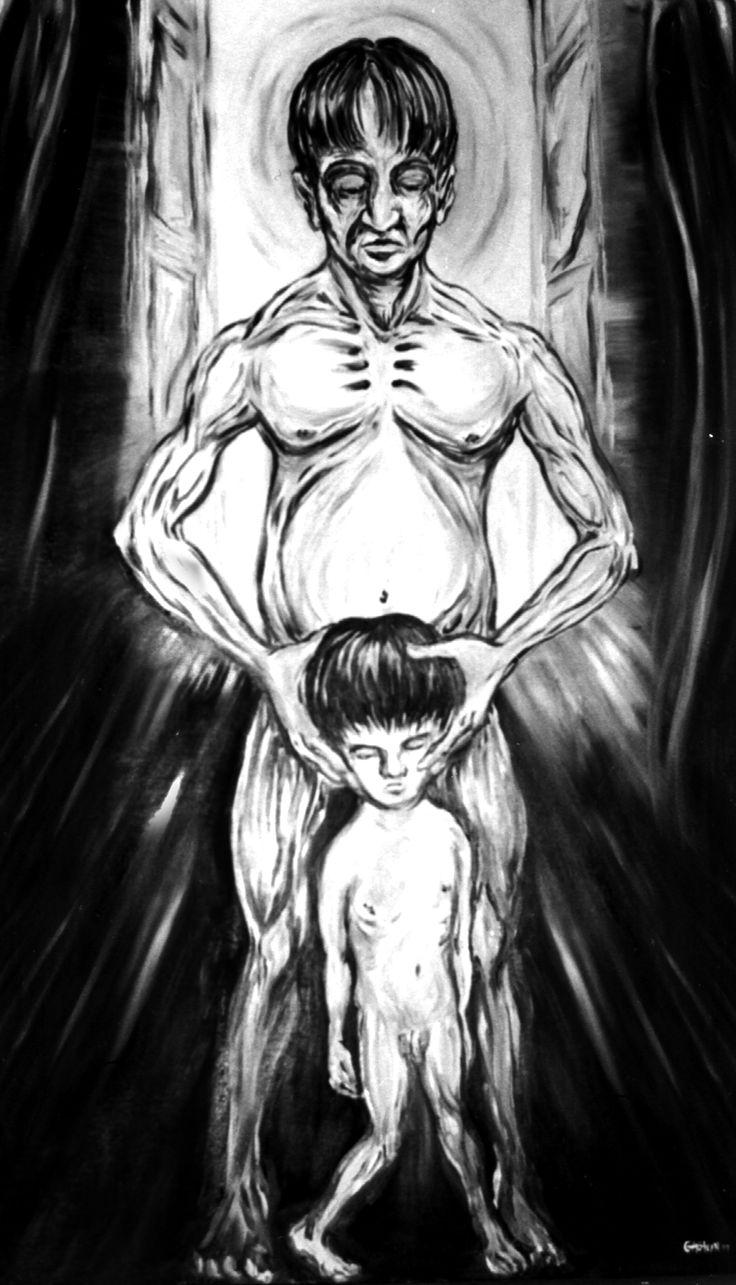 """Se murió mi niño"" Óleo/tela 100x50 cm"
