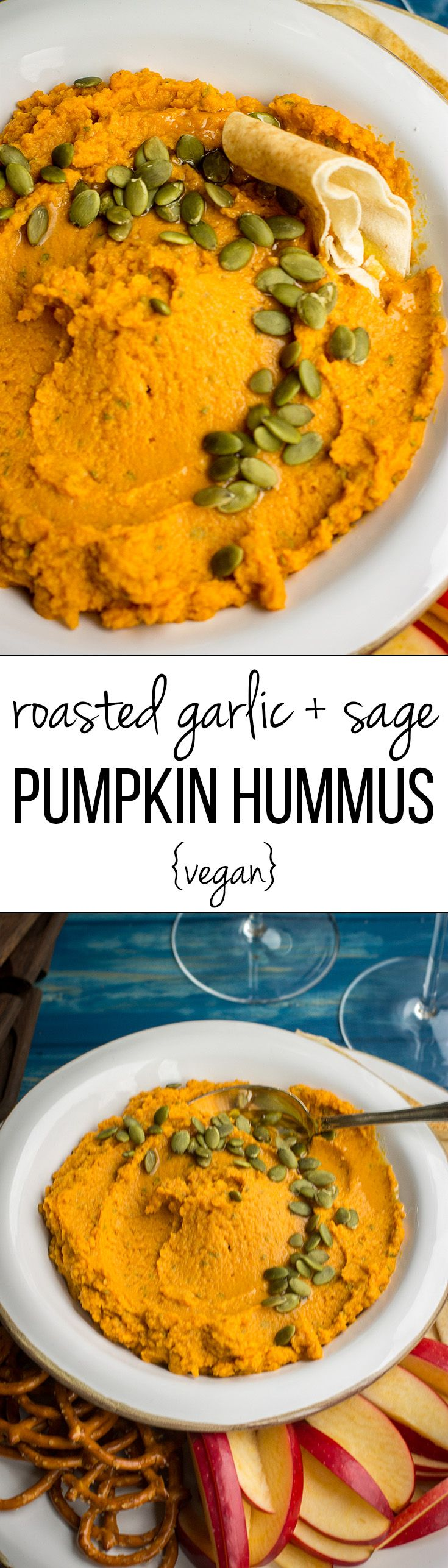 Roasted garlic sage pumpkin hummus | A fast, easy, delicious, vegan fall dip, perfect for parties, snacks, or appetizers! #pumpkinrecipes #partyfood #thanksgiving #vegan