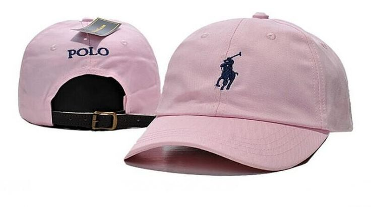 Men's / Women's Polo Ralph Lauren Small Pony Logo Leather Strap Back Adjustable Baseball Hat - Pink / Navy