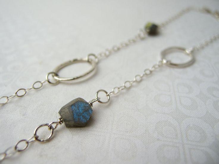Long Sterling Silver Labradorite Necklace