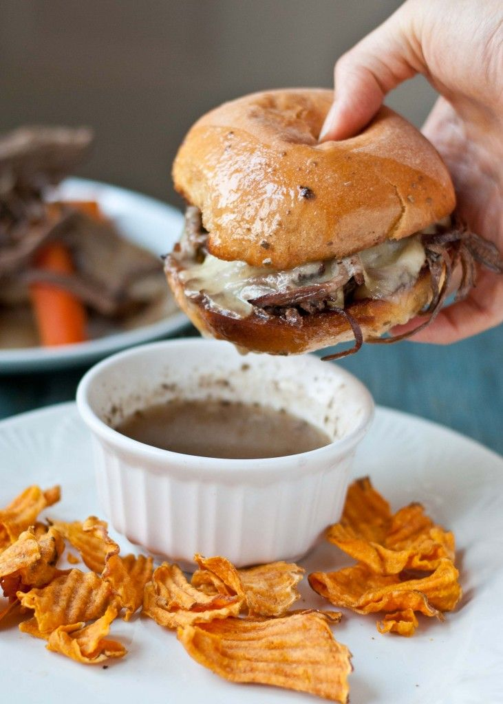 Slow Cooker Beef Brisket French Dip Sandwiches... football food!!