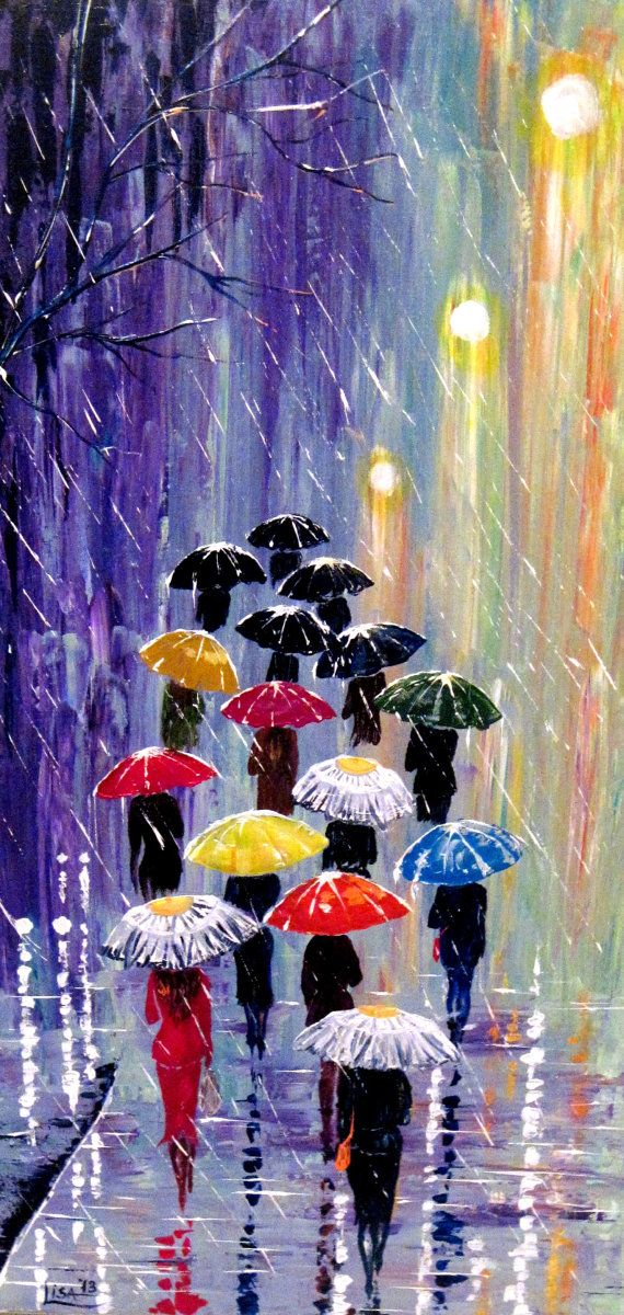 Original Painting Umbrellas-2  Acrylic Rain Painting  Blue