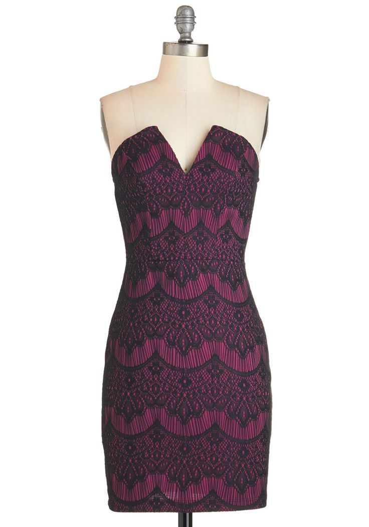Call it a Date Night Dress - Short, Knit, Lace, Black, Print, Lace, Party, Cocktail, Sheath, Strapless, Pink, Girls Night Out, Sweetheart