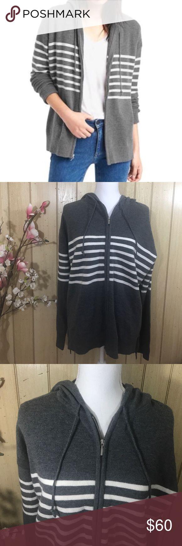 GAP Grey & White Zip Up Hoodie Sweatshirt NWT LG GAP Grey and White Striped Zip Up Hoodie RN#54023  57% Nylon 25% Wool 15% Acrylic 3% Spandex  Zip up hoodie  Heather Grey White Strips Brand-GAP  Size-Large - Women's  Retail Price-$79.95+tax NEW WITH TAGS, never worn. GAP Tops Sweatshirts & Hoodies
