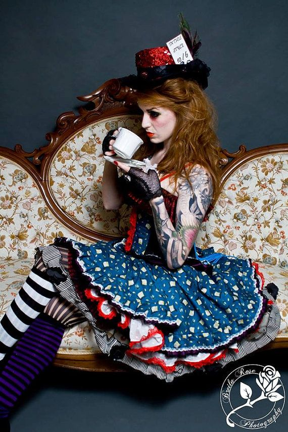 Mad Hatter Underbust Corset Waist Cincher and Skirt by fluffergirl