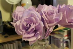 Coffee Filter Flower  Pic heavy tutorial with tips :  wedding bouquet ceremony coffee filter flowers diy flowers paper flowers pew decorations purple white 4 Assembling Flowers 15 Completed Rose 3