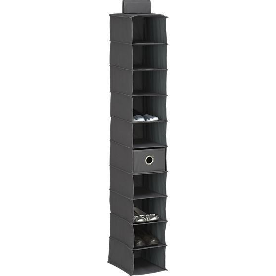 """Grey 10-Section Hanging Shoe Bag 