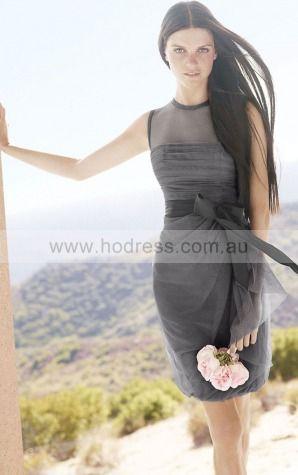 Chiffon Scoop Natural Sheath Knee-length Bridesmaid Dresses 0740579--Hodress