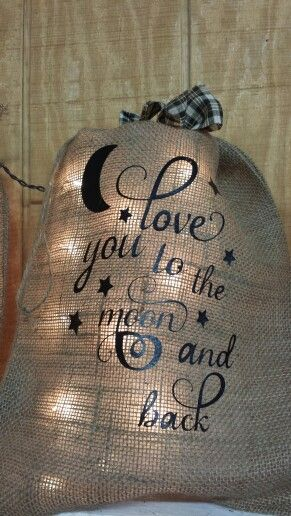 Burlap bag with lights