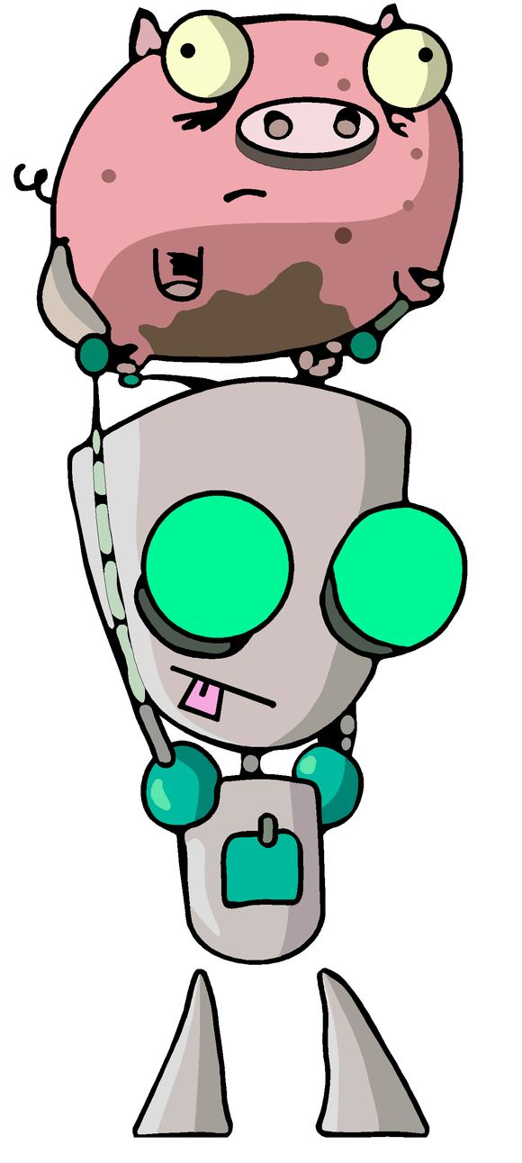 "GIR and Piggy. ""I LOVEDED YOU PIGGY!! I LOOOVVVVEDED YOUUUUU"" ~GIR"