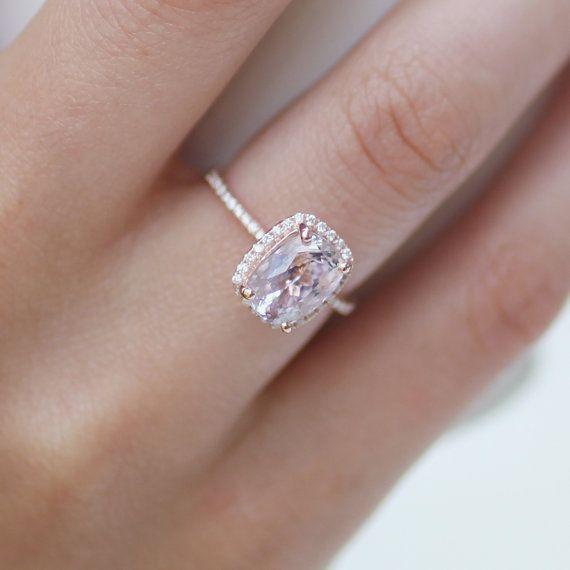2.96ct cushion lavender peach champagne sapphire 14k rose gold diamond ring engagement ring