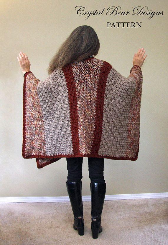 Poncho Ruana manta patrón del ganchillo / por CrystalBearDesigns