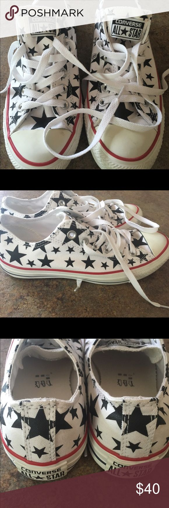 NEW converse with stars ✨ So cute. New converse with stars and a red stripe along the bottom. So cute!!! Converse Shoes