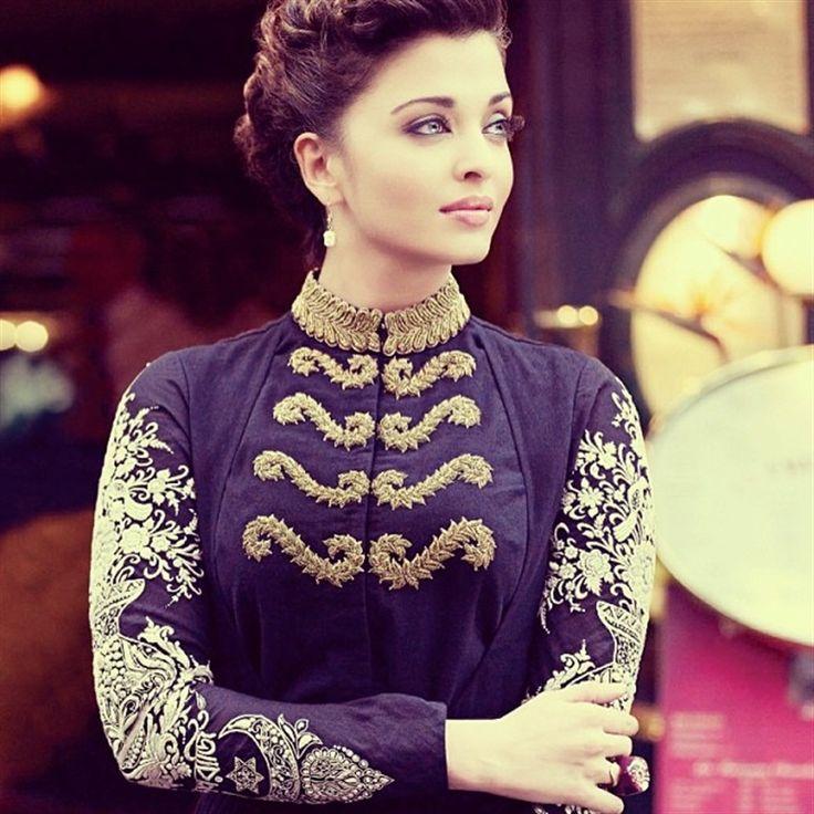 Aishwarya Rai in Sabyasachi military style jacket-salwar