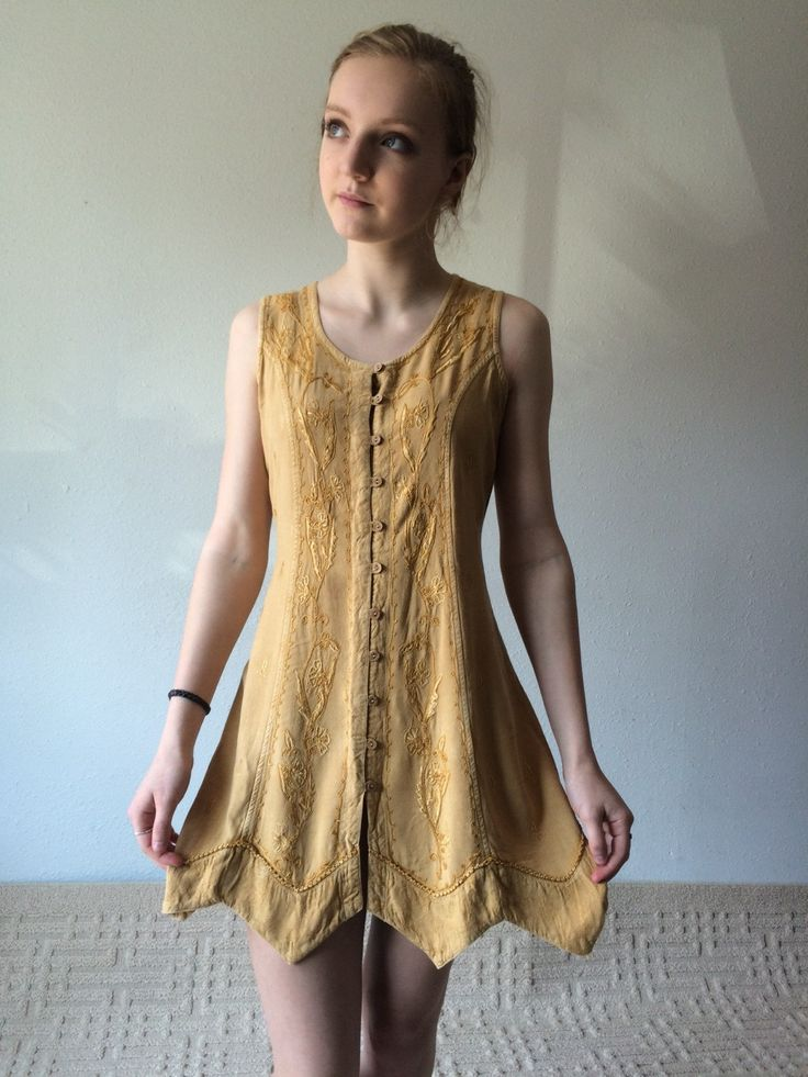 90s Babydoll Dress, Button Down Dress, Summer Dress, Sleeveless Tank Tunic, Duster Vest Mustard, Festival Boho Grunge Baby Doll Small Med by MileZeroVintage on Etsy