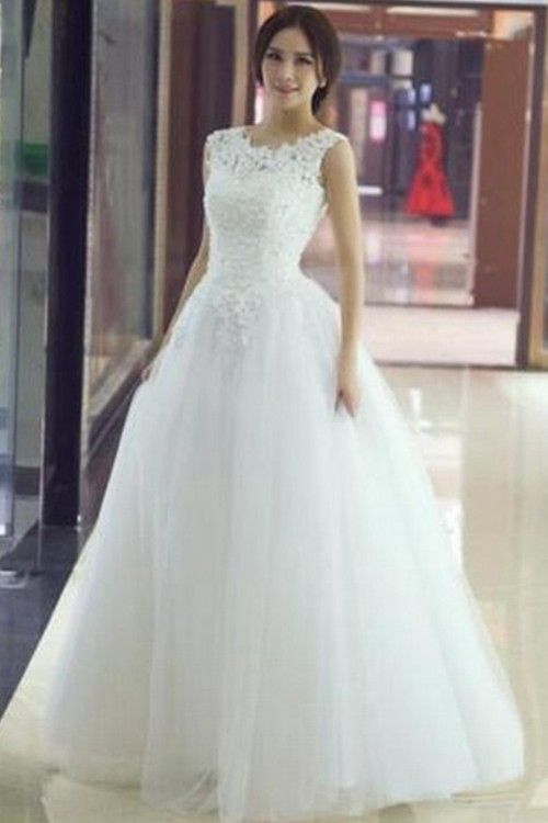 A-line Scoop Floor Length Tulle Bridal Dress Lace