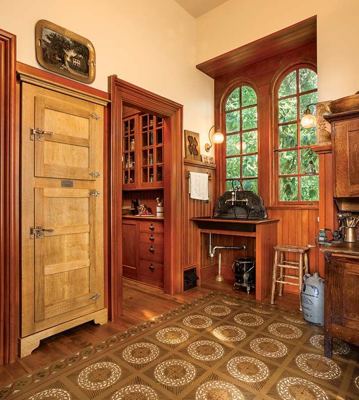 camouflaged behind icebox panels  -- A Period-Perfect Victorian Kitchen - Old-House Online - Old-House Online